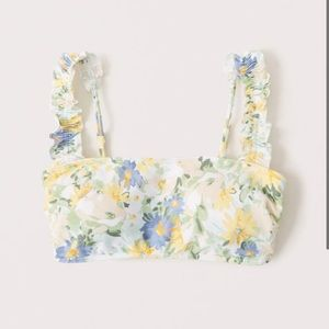 Padded bikini top floral bralette ruffle straps XS